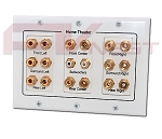 7.1 Surround Sound Distribution Wall Plate - 3 Gang