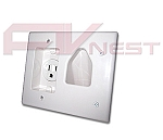 Single Port Gang with Recessed Power - White